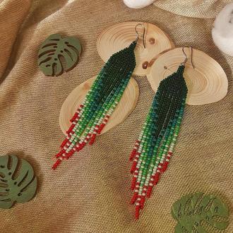 Серьги изумрудные зелёные из чешского бисера, красные серьги градиент, омбре