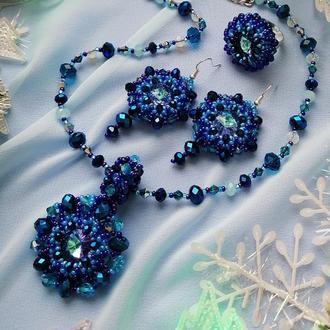 Комплект вечерних украшений «синие небеса»  серьги, кольцо, ожерелье с кулоном