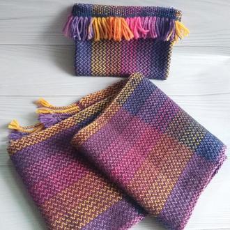 Радужный тканый шарф и косметичка (набор)