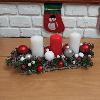 Новорічний різдвяний підсвічник, композиція зі свічками на стіл