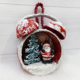 Новогоднее елочное украшение Дед Мороз Подарок на новый год