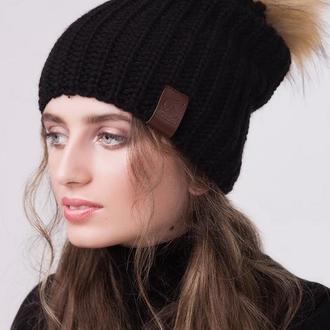 Женская спортивная шапка с искуственным помпоном