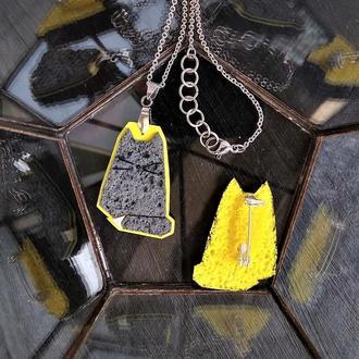 Парные украшения: кулон Котик для нее, значок Кот для него (любой цвет на заказ)