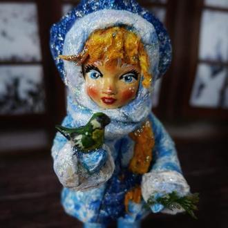 """Ватная елочная игрушка """"Снегурочка с синичкой"""""""