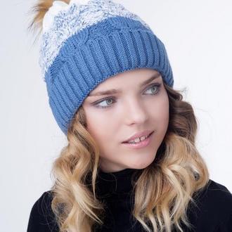 Зимова тепла шапка на флісі з натуральним помпоном
