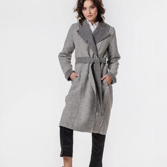 Пальто-кардиган с вышитым поясом