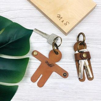 Шкіряний брелок для ключів Аксессуар для чоловіків Подарунок на третю річницю весілля