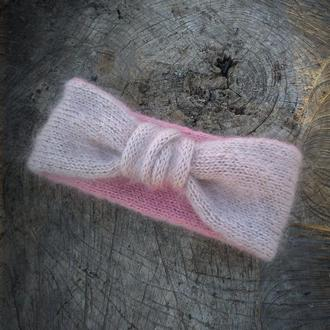 Вязаная повязка бежевая розовая двусторонняя