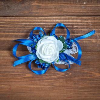 Бутоньерка-браслет для подружек невесты и\или гостей синяя
