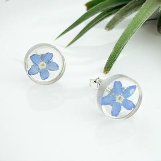 Круглые серьги-гвоздики с незабудками Подарок девушке девочке маме (модель № 2737) Glassy Flowers