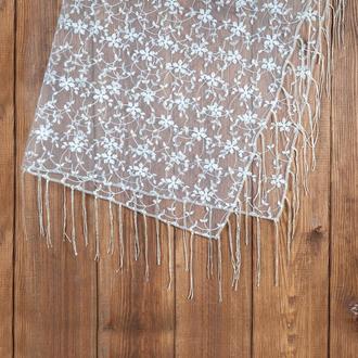 Кружевной платок для венчания бежевый