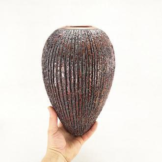 большая керамическая вазараку. Ваза бронзового цвета 29 см. Современный интерьер