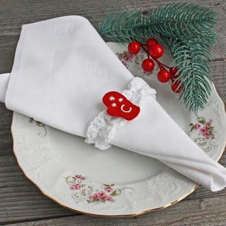 Новогодние кольца для салфеток именные Новогодний декор белый красный