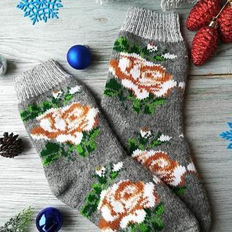 """Шкарпетки жіночі зимові вовняні в'язані новорічні """"Троянда на сірому"""" , р. 38-43"""