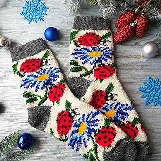 """Шкарпетки жіночі зимові вовняні в'язані новорічні """"сонечка на білому"""" , р. 38-41"""
