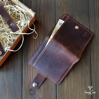 Мужской кошелек с отделением для монет из натуральной кожи цвета виски