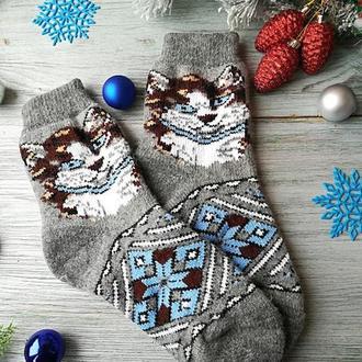 """Шкарпетки жіночі зимові вовняні в'язані новорічні """"Кішки на сірому"""", р. 38-40"""