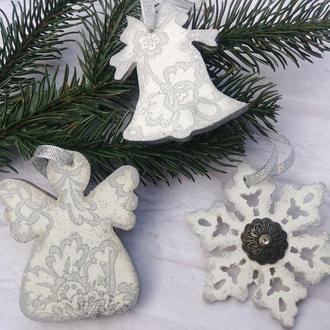 Набор елочных игрушек  серебристая снежинка серебряный ангел на елку