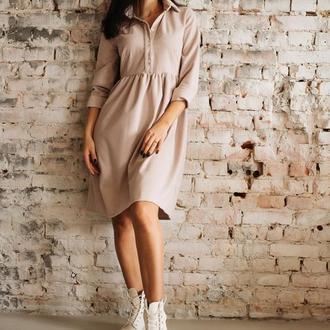 Стильне порошно рожеве плаття з костюмної тканини з вовною