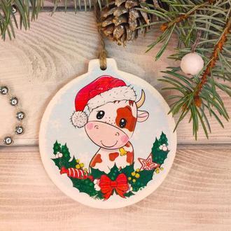 Оригінальний новорічна іграшка-листівка з дерева