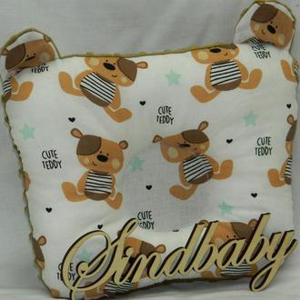 """Подушка для новорожденных """"Мишки"""", с ушками"""