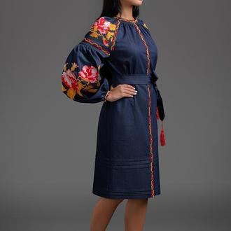 """Дизайнерська вишита сукня """"Три троянди"""" Осень 00122"""