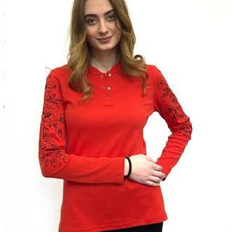 Джемпер красный Цветы шиповника S