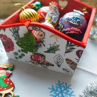Новогодний короб ваза для сладостей, декора или упаковки подарков