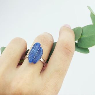 Кольцо с натуральным кианитом Минимализм Синий кианит кольцо Подарок девушке (модель №610) JKjewelry