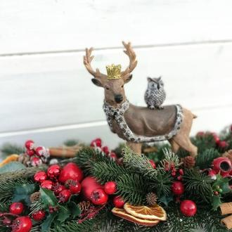 Новогодняя композиция на стол. Новорічна композиція на стіл. Новорічний декор. Подарок на Новый год.