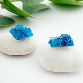 Серьги гвоздики с кристаллами синего апатита Минимализм Подарок девушке (модель № 613) JK jewelry