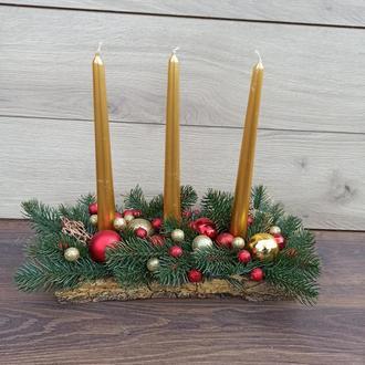 Новорічний різдвяний підсвічник Новорічна різдвяна композиція зі свічками