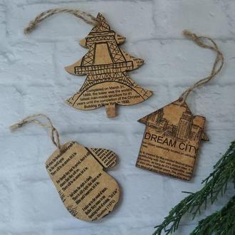 Набор новогодних игрушек Битлз подарок битломану Деревянные игрушки на елку