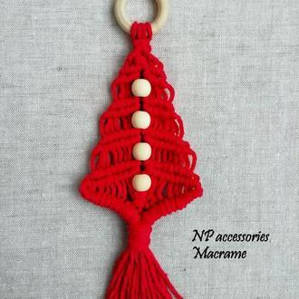Новорічний декор, еко прикраси, червона  ялинка