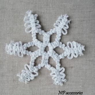Новорічний декор, еко прикраси, біла сніжинка