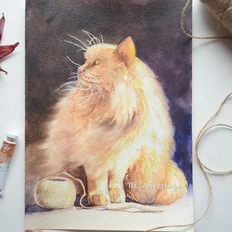 Картина акварелью Пушистая кошка