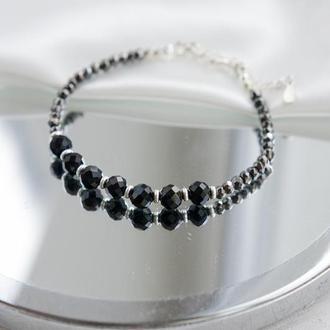 Серебряный браслет с черным турмалином и пиритом.
