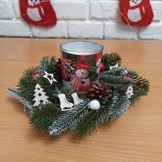 Новорічна різдвяна композиція, Новорічний різдвяний підсвічник зі свічкою