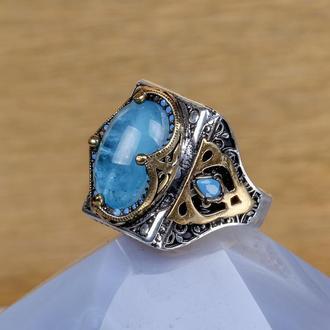 Купить перстень мужской серебро голубой Параиба натуральный оригинальный