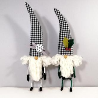 Новогодний гном Черно белый декор на елку Елочная игрушка гномик
