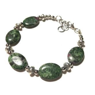 Браслет из Цоизита натуральный камень, цвет зеленый и его оттенки \ Sb - 0080