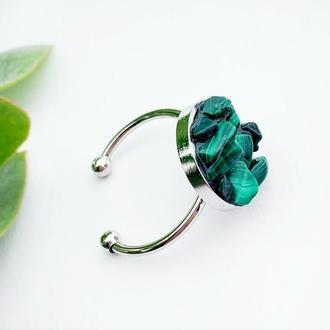 Кольцо с кристаллами изумрудного малахита Зелёное колечко Подарок девушке (модель № 618) JK jewelry
