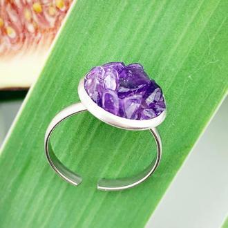 Кольцо с кристаллами аметиста Колечко друза аметист Подарок девушке (модель № 619) JK jewelry