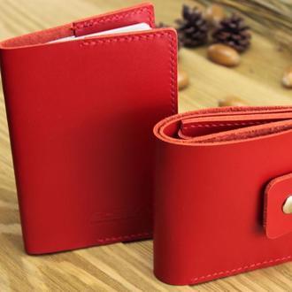 """Комплект аксесуарів """"BRIGHT"""" : шкіряний гаманець і обкладинка паспорт_red glossy"""