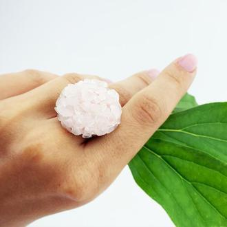 Кольцо с розовым кварцем Кольцо друза Розовый кварц кольцо Подарок девушке (модель № 621) JK jewelry