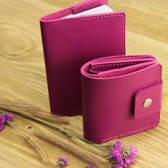 """Комплект """"BRIGHT""""_ ferro glossy (шкіряний гаманець і обкладинка на паспорт)"""