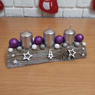 Новорічний різдвяний підсвічник, композиція з трьома  свічками