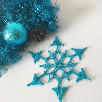 Снежинка бирюзового цвета, новогодний декор, украшение на елку