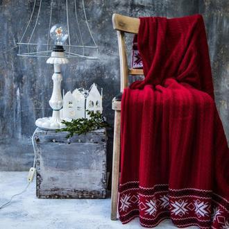 Плед ЭТНО 140*180 красный с орнаментом