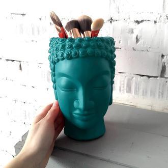 Скульптура органайзер Vase Head в образі Будди 21 см бірюзовий